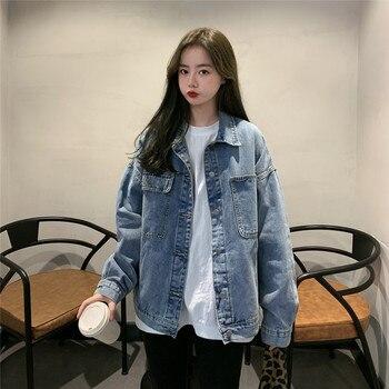 Denim Jacket Womens Causal Coat Korean Style Women Streetwear Outerwear Oversized Loose Vintage Student Jeans Jacket Coat Female
