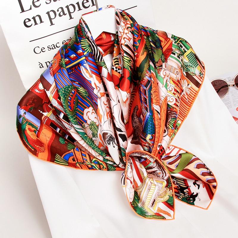 100% Silk Square Scarves Women 2020 Printed Wrap Hangzhou Silk Bandana Foulard Femme Kerchief 16mm Real Silk Neck Scarf 88*88cm