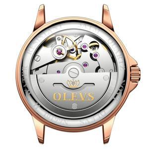 Image 3 - OLEVS נשים שעון מכאני קרמיקה ריינסטון תאריך שעוני יוקרה צמיד עמיד למים שעוני יד אלגנטי אוטומטי שעון