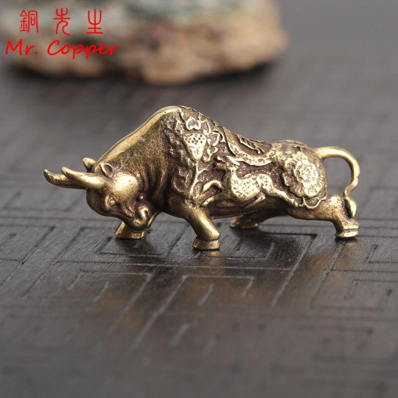 Pure Copper Majestic Lion King Miniatures Figurine Desk Decor Mini Animal Statue