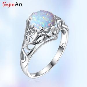 Image 1 - Szjinao אופל טבעת לנשים 925 סטרלינג כסף בציר חן טבעות Fower קסם יוקרה מותג תכשיטי חתונה מתנה 2020