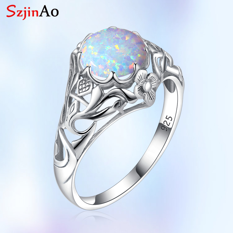 Szjinao Hot Sale Fashion 925 Sterling Silver Vintage Fascination Flower Opal Big Rings For Women Luxury Jewelry Wedding Bands