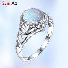 Szjinao opala anel para mulher 925 prata esterlina vintage anéis de pedra preciosa fower fascinação marca luxo jóias presente casamento 2020
