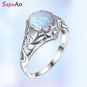 Image 1 - Женское кольцо с опалом Szjinao, винтажные кольца из стерлингового серебра 925 пробы с драгоценными камнями, роскошные брендовые ювелирные украшения, свадебный подарок 2020