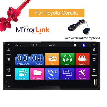 Car Audio MP5 DVD Player For Toyota Corolla 2 Din Touch Screen  Android/IOS MirrorLink Bluetooth 7 Universal FM Microphone mp5