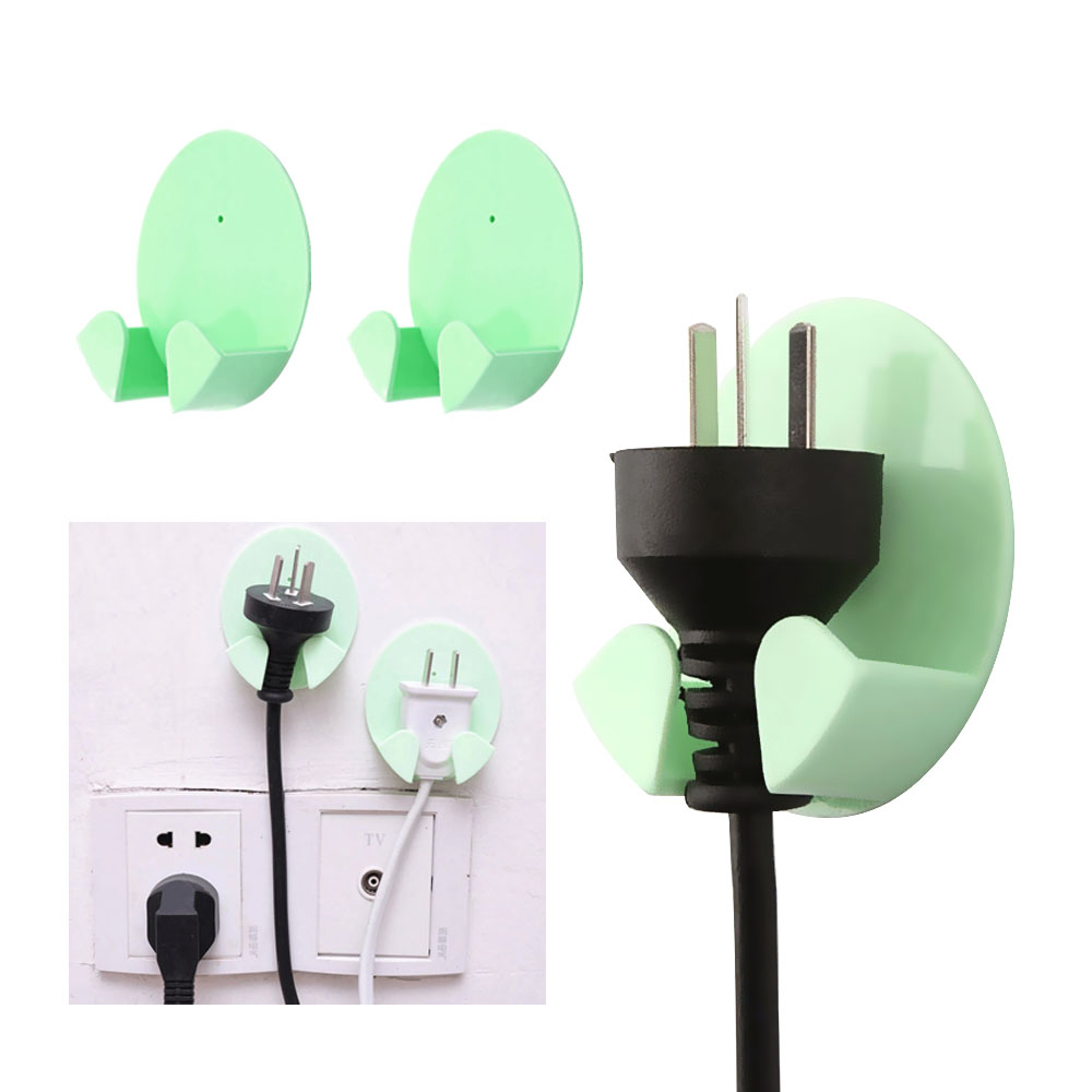 2pcs/Pack Holder Multifunctional Home Office Wall Powerful Adhesive Plastic Power Plug Socket Holder Hanger Wall Storage Hook
