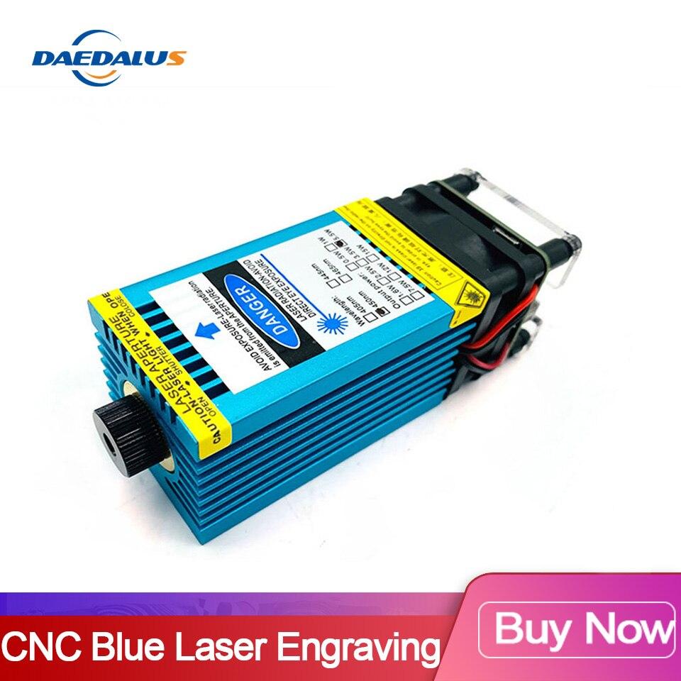 500 mW-15 w Фокусируемый синий лазерный модуль 12В 33/40 мм лазерная гравировка резка TTL ШИМ для ЧПУ 3018, CNC2418, CNC1610