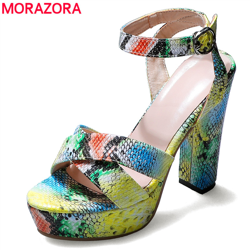 MORAZORA Plus Size 34-46 New 2020 Women Sandals Snake Printed Thick High Heels Sandals Buckle Summer Platform Shoes