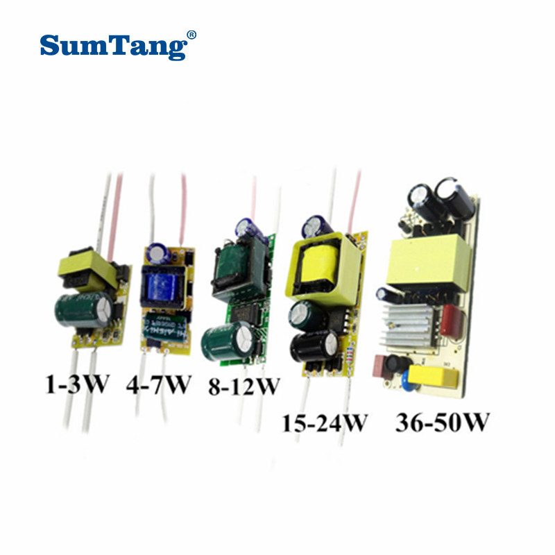 5PCS/LOT 1-3W 4-7W 8-12W 15-24W 36W 50W LED Driver Power Supply built-in constant current 85-265V Output 300mA Transformers
