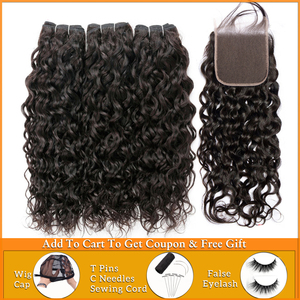 Image 1 - Lanqi water wave bundles with closure 100% human hair bundles with closure brazilian hair weave bundles non remy hair extensions