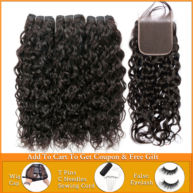 Lanqi water wave bundles with closure 100% human hair bundles with closure brazilian hair weave bundles non remy hair extensions