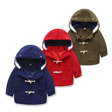 Windproof Warm Hooded Child Woolen Coat Fashion Baby Girls Boys Jackets Children Outerwear Kids Outfits For Cold Autumn 90-130cm