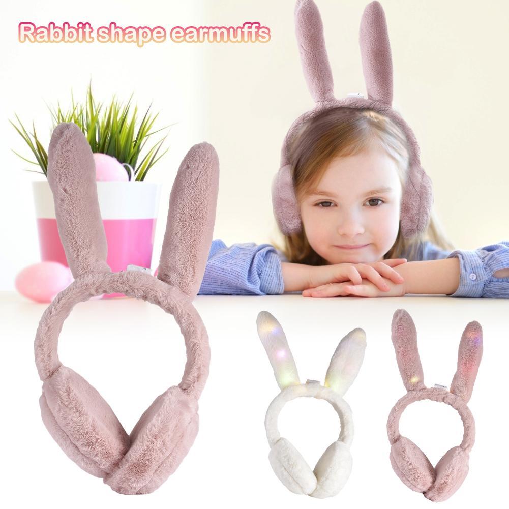 2019 Girl Women Rabbit Earmuffs Fur Fashion Luminous Winter Warm Earmuffs Windproof Ear Protection