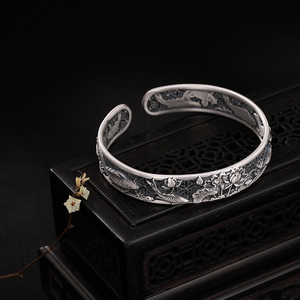 Image 5 - Real Pure 999 Sterling Silver Bangles Carved Fish and Lotus Hollow Design Cuff Bracelets for Women Luxury Jewelry