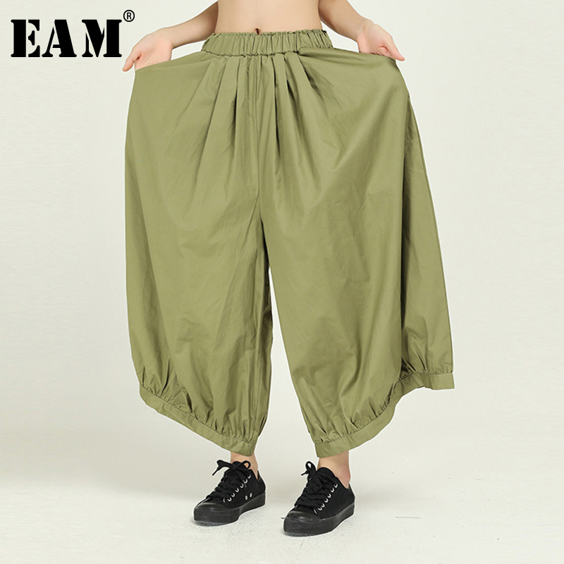 [EAM] High Elastic Waist Green Pleated Split Long Wide Leg Trousers New Loose Fit Pants Women Fashion Spring Autumn 2020 1N515