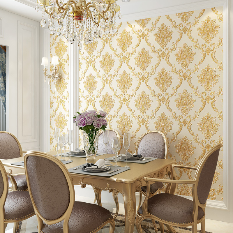 European Style Classic Bump Embossing Damascus Wallpaper Bedroom Living Room Simple European Nonwoven Fabric Restaurant Wallpape