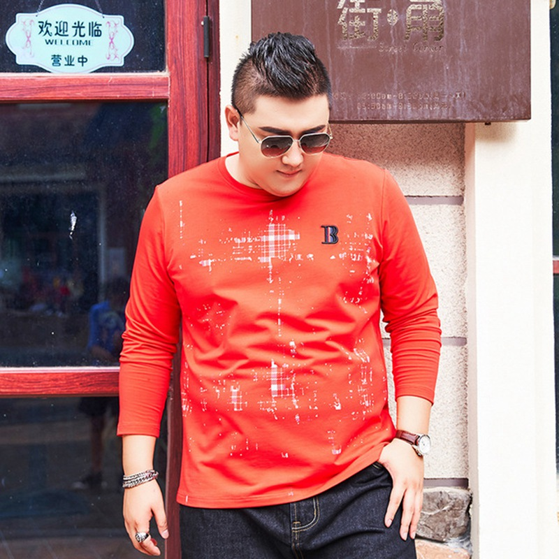 Spring and autumn new plus fertilizer XL men's long sleeved T shirt fat round neck bottoming shirt tide fat print red 7xl