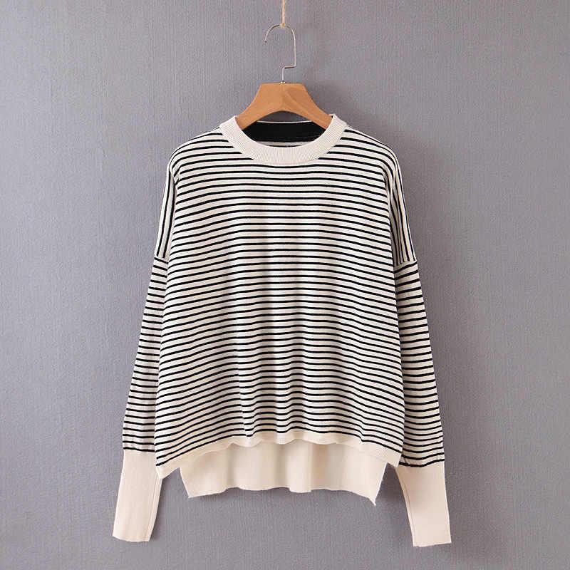 가을 여성 오 넥 긴 소매 줄무늬 인쇄 어깨 스웨터 숙녀 캐주얼 점퍼를 떨어 뜨린