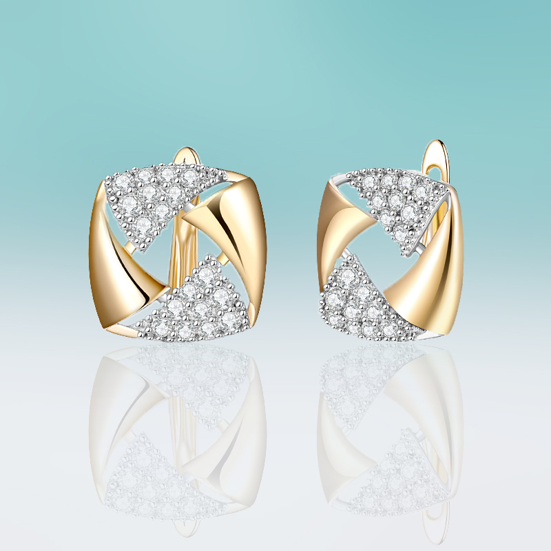 New Fashion Small Square Gold Stud Earrings Luxury Micro Wax Inlay Cubic Zirconia Earrings for Women Jewelry Brincos