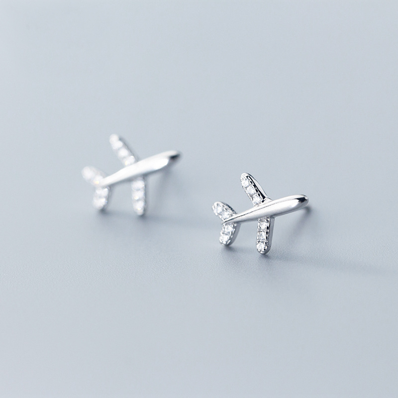 Genuine 925 Sterling Silver Airplane Stud Earrings Cute Plane Earrings for Women Girls image