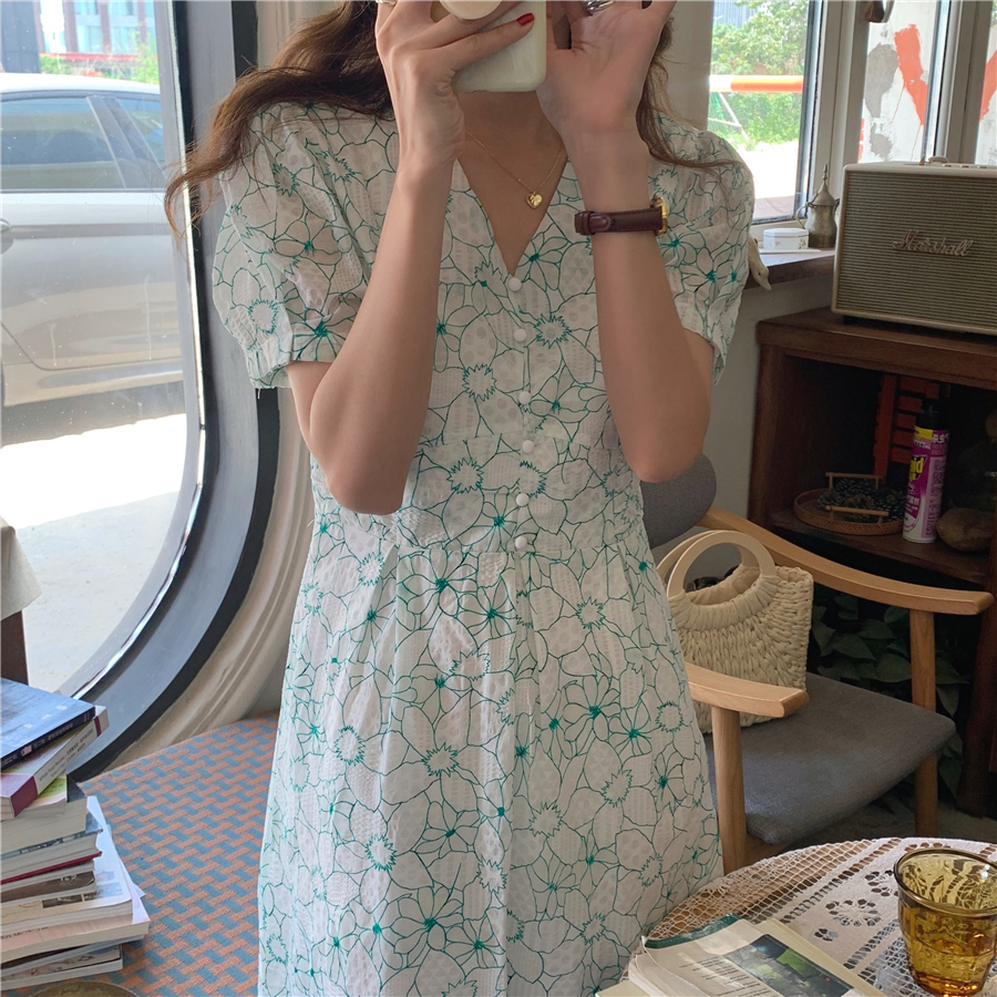 Hf6a3b982bfda477188a406ceb138b078I - Summer V-Neck Puff Sleeves Floral Print Buttons A-Line Midi Dress
