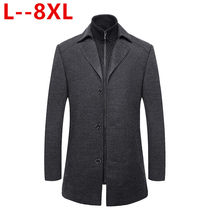 8XL 6XL 5XL Männer Winter Warm Trench Woolen Mantel Slim Fit Casual Reefer Jacken Solide Stehkragen Zweireiher Peacoat parka(China)