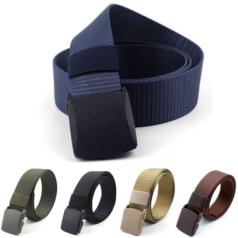 Man Women 3.8cm Canvas Belts New Nylon Adjustable Belt Men Outdoor Travel Tactical Waist Belt With Plastic Buckle For Jeans