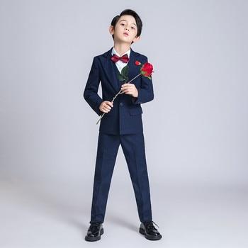 YuanLu New Boys Suits Wedding Party Blazer Jacket Drak Blue Kids Suits Formal Costume Lattice Children Clothes British Style