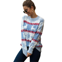 2019 New Christmas Sweater Women Autumn Winter Pullovers Long Sleeve Knitted Female Sweaters Fashion Loose Tops Elastic Jumpers цены