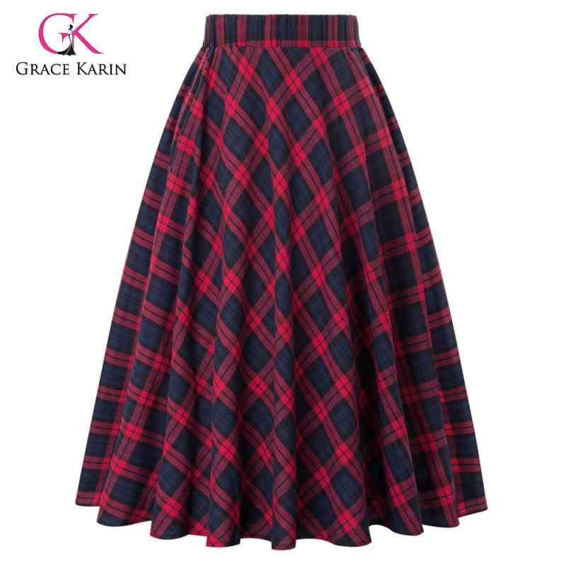 Grace Karin Women's Vintage Skirt Classic Grid Pattern Plaid Cotton A-Line Skirt Fashion Lady Elegant Comfy Skirts