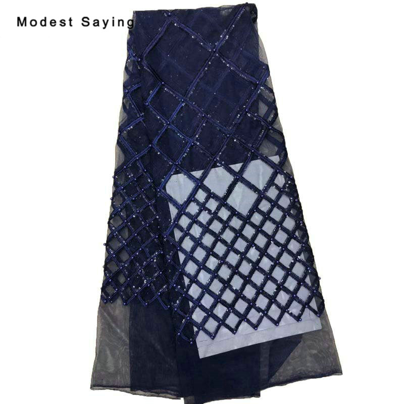5 Yards Navy Blue African Pearls Sequined Square Lace Fabrics For Evening Dress 2019 Embroidered Mesh Nigerian Net Lace Material