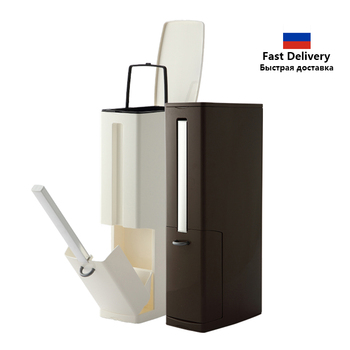 Narrow Bathroom Trash Can Set with Toilet Brush and Holder Plastic Dustbin Waste Bin Garbage Bucket Garbage Bag Dispenser 3 in 1 papelera kosz na smieci garbage de bag holder reciclaje commercial hotel lixeira cubo basura recycle bin dustbin trash can