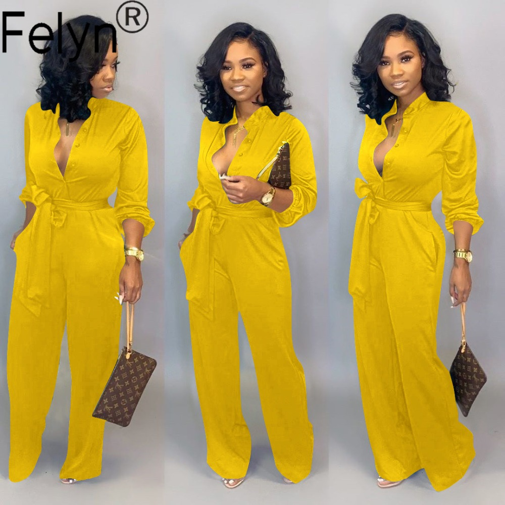 Hf6a40c6ca1e44b74885e14877463c360Q - Felyn New Arrival Office Lady Straight Jumpsuits Bright Color Belt Turn-down Collar Street Wear Soft Bodcyon Rompers BB8602