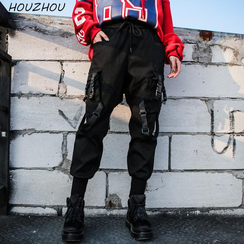 HOUZHOU 2020 Cargo Pants Women Punk High Waist Pants Joggers Hip Hop Pants Hippie Black Trousers Women Harajuku Streetwear