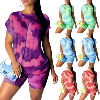 Women Tie-dye Tracksuit Short Sleeve Crop Top T-Shirt+ Bodycon Short Pants Legging Set Sportswear