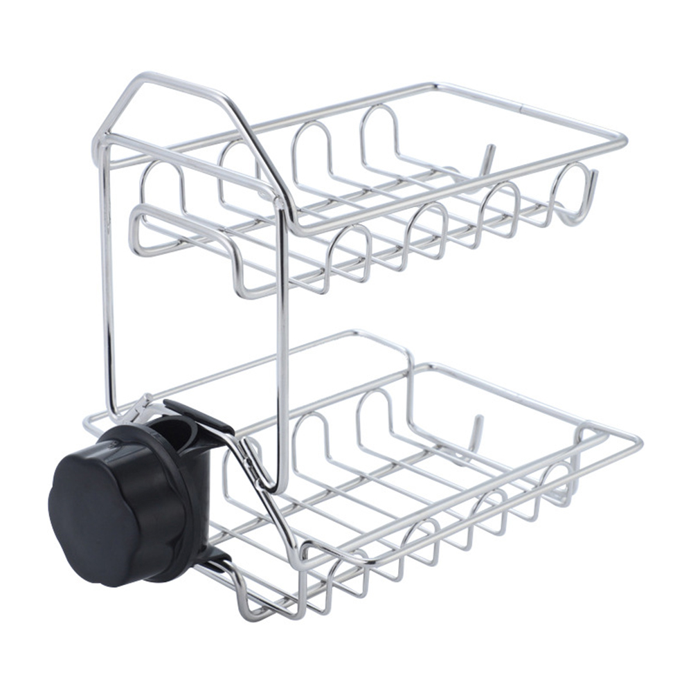 Accessories Storage Organizer Basket Double Layer Drying Hanging Sink Bathroom Kitchen Faucet Rack Stainless Steel Draining Home