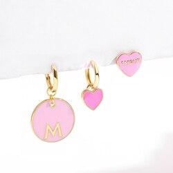 Romantic Amour Women's Pink Heart Drop Earrings 2020 Korean Style Cute Round Huggie Earrings Fashion Jewelry