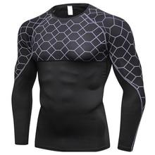 Мужская быстросохнущая облегающая дышащая спортивная рубашка с принтом с длинным рукавом и круглым вырезом THJ99