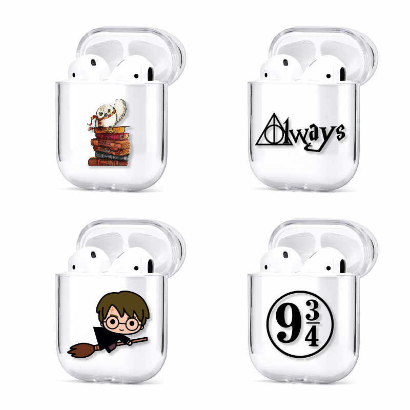 Kartun Harries Potter Magic Sekolah Nirkabel Earphone Case untuk Apple Udara Pods Silikon Pengisian Headphone Case Pelindung Penutup