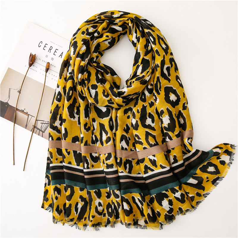 KYQIAO шарф женский vintage yellow leopard scarf women autumn Mexico style long print scarf cape Sjaal Muslim Hijab Snood