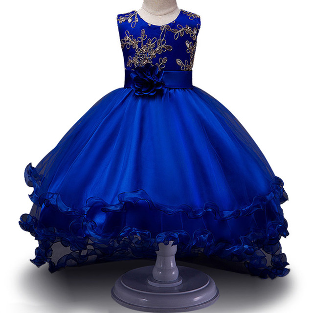 Girls Sleeveless Princess Children flower Party dress Wedding 3-12 Years Girls Trailing Party Prom High Quality Lace vestido