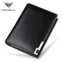 Мужские бумажники из натуральной кожи WILLIAMPOLO, 14 держателей для карт, карман на молнии, Carteira PL218