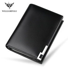 WILLIAMPOLO Genuine Leather Men Wallets 14 Business Card Holders Zipper Pocket Purse Carteira PL218