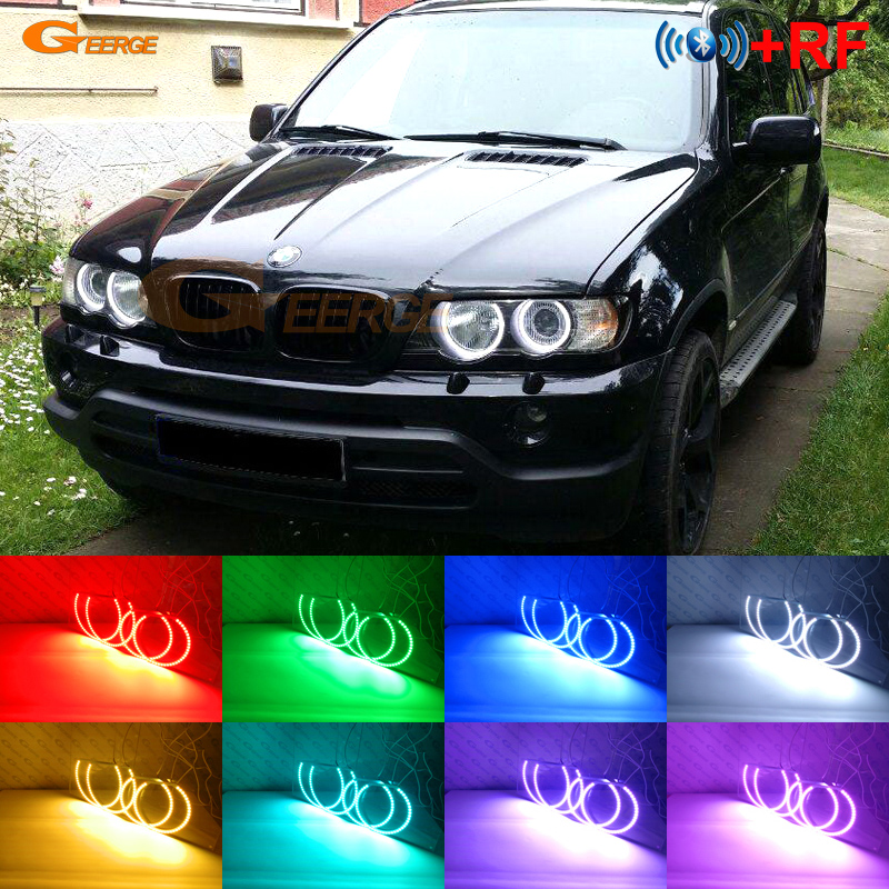 RF remote Bluetooth APP Multi-Color Ultra bright RGB LED Angel Eyes Halo Ring For BMW X5 <font><b>E53</b></font> Pre facelift 2000 <font><b>2001</b></font> 2002 2003 image
