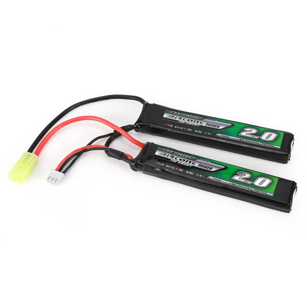Airtonk Power 7.4V <font><b>2000mAh</b></font> 15C <font><b>2S</b></font>/3S 11.1V 15C <font><b>Lipo</b></font> Battery Mini Tamiya Plug Rechargeable Double Cell for Model Gun Toy Boy Gift image