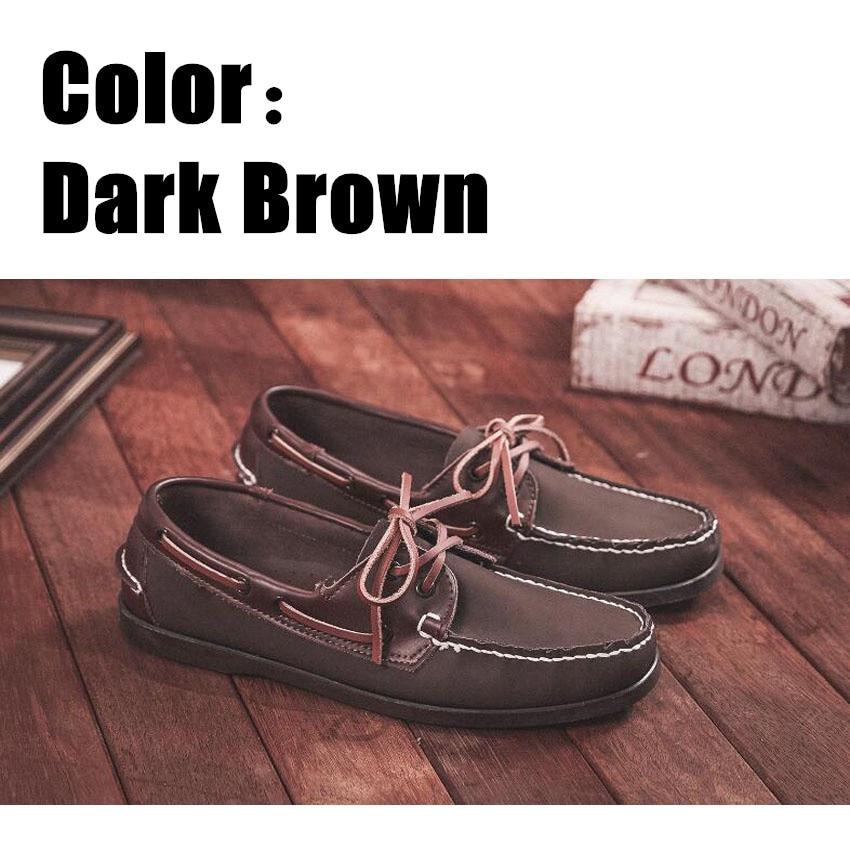 Mocassins de couro legítimo unissex, sapato clássico