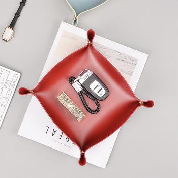 Skórzana taca na biurko taca kwadratowa w stylu europejskim biżuteria ze skórzaną szufladą tanie i dobre opinie CN (pochodzenie) Tacki do przechowywania Skóra sy001 Europejska
