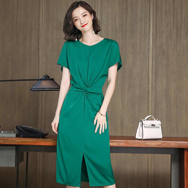 Vintage 90% real seda vestido de verão roupas femininas 2020 elegante escritório senhoras vestidos longos mulher ropa mujer 19399