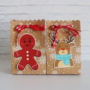 Image 4 - 8Pcsกระดาษคราฟท์กล่องกระดาษCandyของขวัญถุงChristmasของขวัญกล่อง 18.5*7*11.7 ซม.กล่องคริสต์มาสสำหรับคุกกี้Patyอุปกรณ์ตกแต่งบ้าน