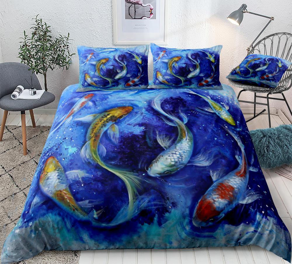 Koi Bedding Set Fishes Bed Set Blue Duvet Cover Set Animal Kids Bed Linen Boys Girls Bedclothes Microfiber Bedding